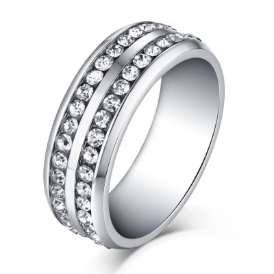 round cut white sapphire silver titanium steel mens ring - Cheap Wedding Rings
