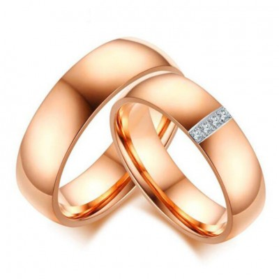 Titanium Steel Rose Gold White Sapphire Promise Rings for Couples