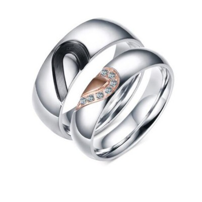 Black Rose Gold & Silver Titanium Steel Promise Rings for Couples