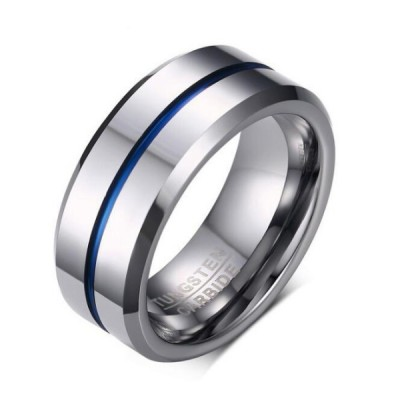 Tungsten Silver & Blue Men's Ring