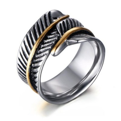 Titanium Feather Shape Silver & Gold Men's Ring