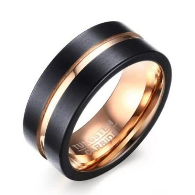Tungsten Rose Gold & Black Men's Ring