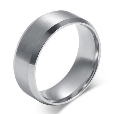 Titanium Simple Silver Men's Ring