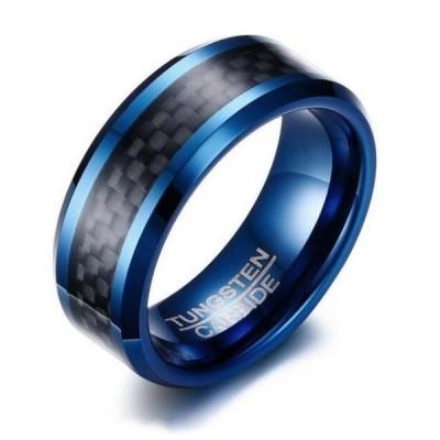 Tungsten Royal Blue & Black Men's Ring