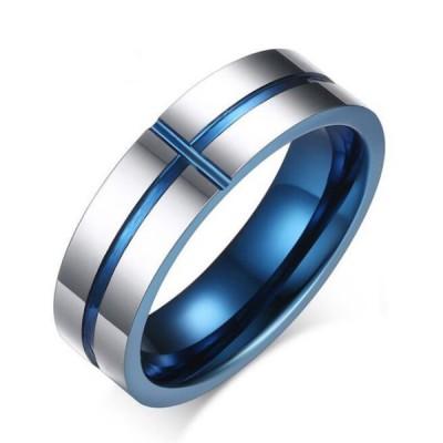 Tungsten Blue & Silver Cross Men's Ring
