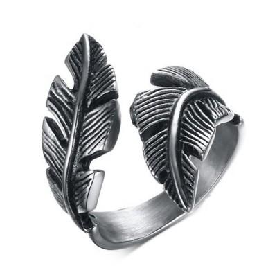 Titanium Feather Shape Silver & Black Men's Ring