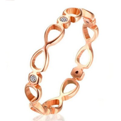 Titanium Round Cut White Sapphire Infinity Rose Gold Promise Rings For Her