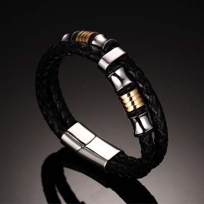Black Leather Gold and Silver 925 Sterling Silver Bracelet