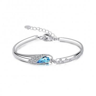 Lovely Aquamarine Silver Titanium Bangles