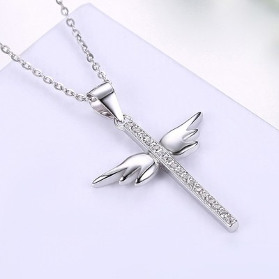 Round Cut White Sapphire Cross Wing S925 Silver Necklaces
