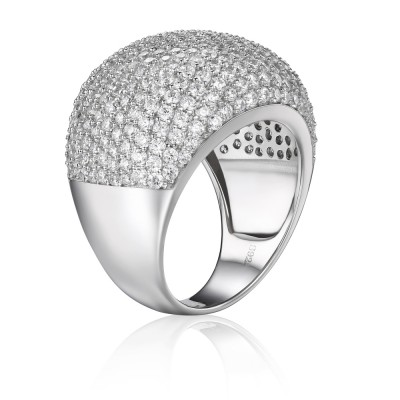 Luxury Round Cut Gemstone Sterling Silver Cocktail Ring