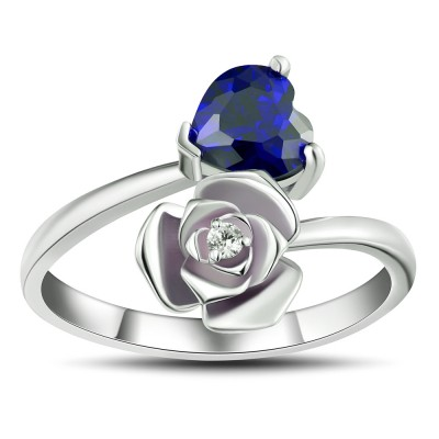 Heart Cut Blue Sapphire 925 Sterling Silver Promise Rings For Her