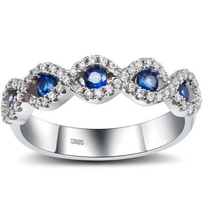 Round Cut Sapphire 925 Sterling Silver Women's Wedding Bands