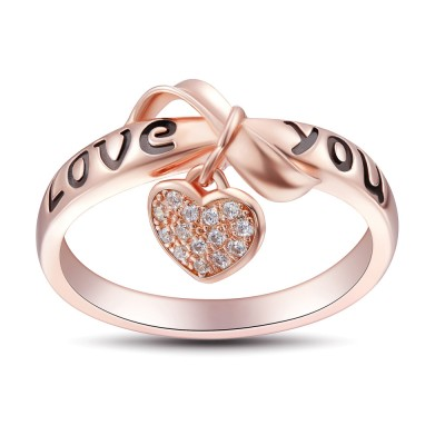 bowknot design love you 925 sterling silver womens ring - Best Wedding Ring