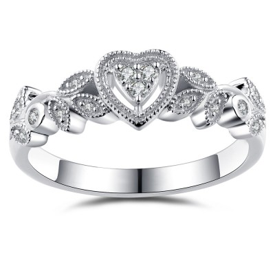 Heart Style White Sapphire 925 Sterling Silver Engagement Ring