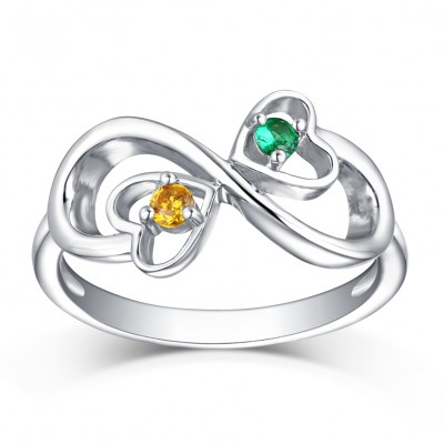 Round Cut Emerald & Topaz S925 Silver Infinity Rings