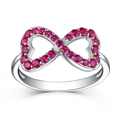 Lovely Round Cut Ruby S925 Silver Infinity Rings