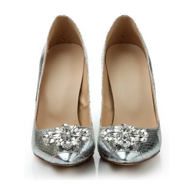 Women's Stiletto Heel Closed Toe Sheepskin With Rhinestone Silver Wedding Shoes