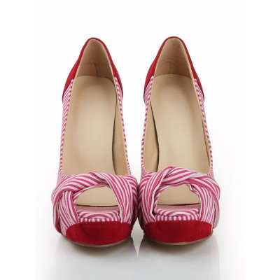 Women's Peep Toe Stiletto Heel Suede Platform With Knot Platforms Shoes