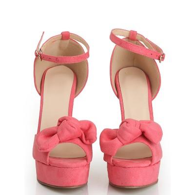 Women's Peep Toe Suede Stiletto Heel Platform With Knot Platforms Shoes