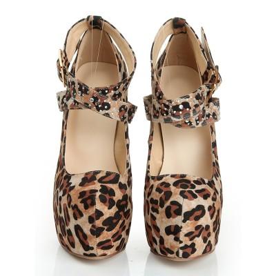 Women's Suede Stiletto Heel Closed Toe Platform With Leopard Print Platforms Shoes