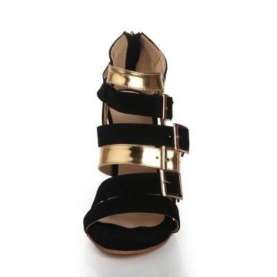 Women's Flock Peep Toe Stiletto Heel With Buckle Sandals Shoes
