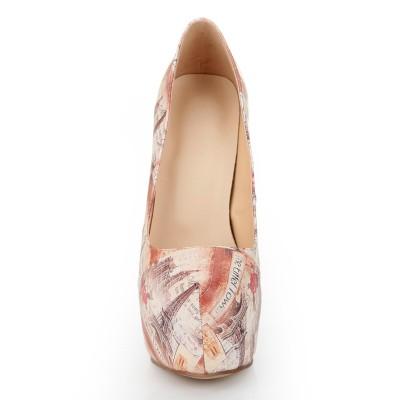Women's Closed Toe Stiletto Heel Platform With Newspaper Patterns Platforms Shoes