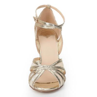 Women's Stiletto Heel Peep Toe Gold Sandals Shoes
