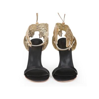 Women's Sheepskin Stiletto Heel Peep Toe With Gold Butterfly Sandals Shoes