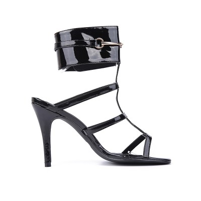 Women's Patent Leather Peep Toe Stiletto Heel Black Sandals Shoes