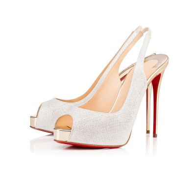 Women's Peep Toe Sparkling Glitter Stiletto Heel Platform White Sandals Shoes