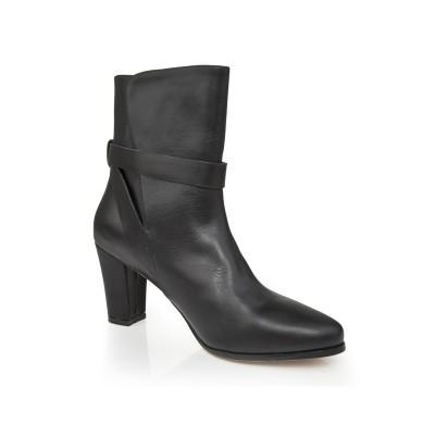 Women's Sheepskin Chunky Heel Closed Toe With Buckle Mid-Calf Black Boots