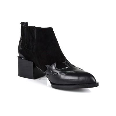 Women's Kitten Heel Closed Toe Cattlehide Leather Black Booties