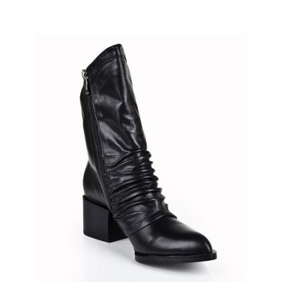 Women's Cattlehide Leather Kitten Heel Closed Toe With Zipper Mid-Calf Black Boots