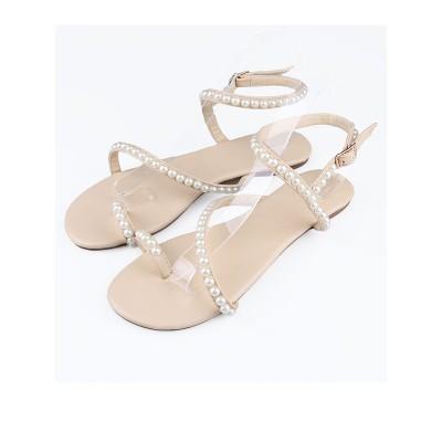 Women's Sheepskin Flat Heel Peep Toe With Buckle Flat Shoes