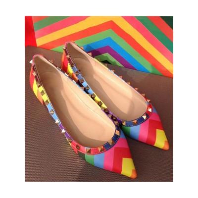 Women's Colorful Flat Heel Sheepskin Closed Toe With Rivet Flat Shoes