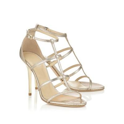 Women's Sheepskin Peep Toe Stiletto Heel With Buckle Sandals Shoes