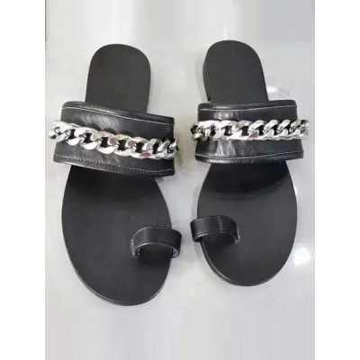 Women's Black Flat Heel Sheepskin With Chain Sandals Shoes