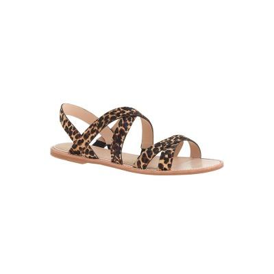 Women's Flat Heel Suede Peep Toe Sandals Shoes