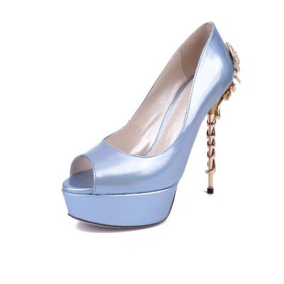 Women's Peep Toe Stiletto Heel Platform Patent Leather With Rhinestone Platforms Shoes