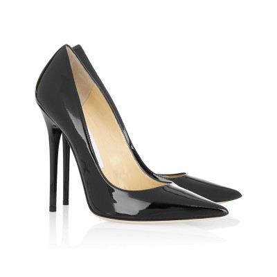 Women's Black Patent Leather Closed Toe Stiletto Heel Office High Heels