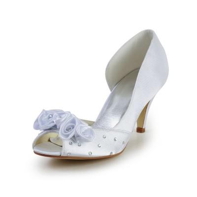 Women's Satin Cone Heel Peep Toe White Wedding Shoes With Flower Rhinestone