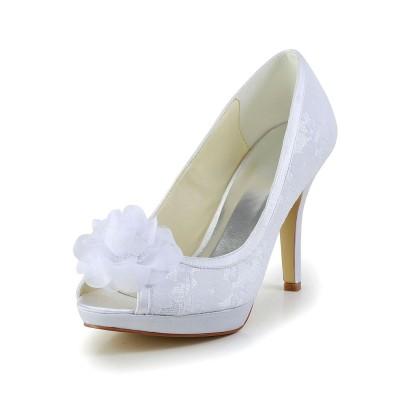 Women's Satin Peep Toe Stiletto Heel White Wedding Shoes With Flower