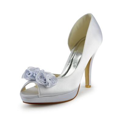 Women's Satin Stiletto Heel Peep Toe With Flower White Wedding Shoes