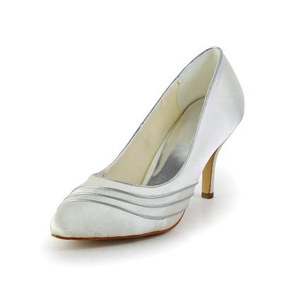 Women's Simple Satin Stiletto Heel Pumps White Wedding Shoes