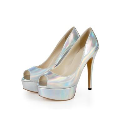 Women's Patent Leather Peep Toe Platform Stiletto Heel Silver Wedding Shoes