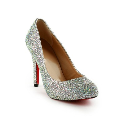 Women's Stiletto Heel Rubber With Rhinestones Party & Evening High Heels