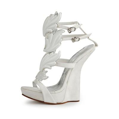 Women's Patent Leather Peep Toe Wedge Heel Platform Wedges Shoes