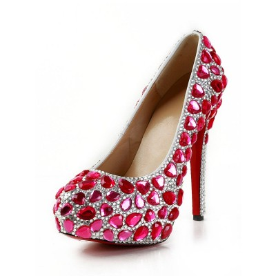 Women's Patent Leather Closed Toe Stiletto Heel Platform With Rhinestone High Heels