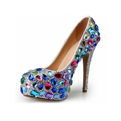 Women's Patent Leather Stiletto Heel Platform With Rhinestone Platforms Shoes